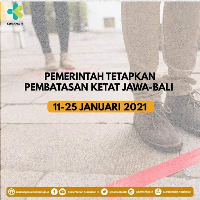 Pemerintah Tetapkan Pembatasan Ketat Jawa Bali 11-25 Januari 2021