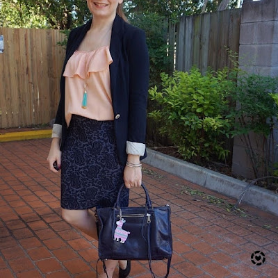 awayfromtheblue instagram | peach and navy ruffle cami and jacquard pencil skirt work outfit summer office style