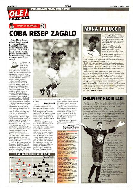 PEMANASAN PIALA DUNIA 1998: ITALIA VS PARAGUAY