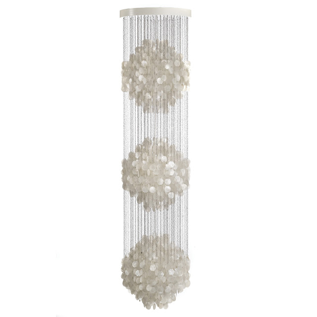 Long Chandelier For Staircase With Capiz Shells