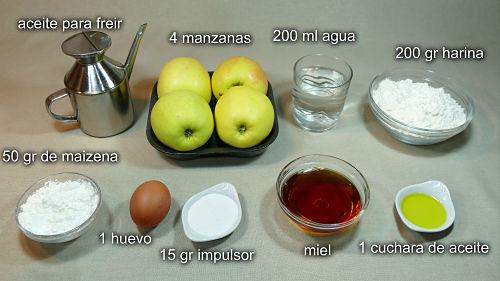 Manzanas fritas a la miel. Ingredientes