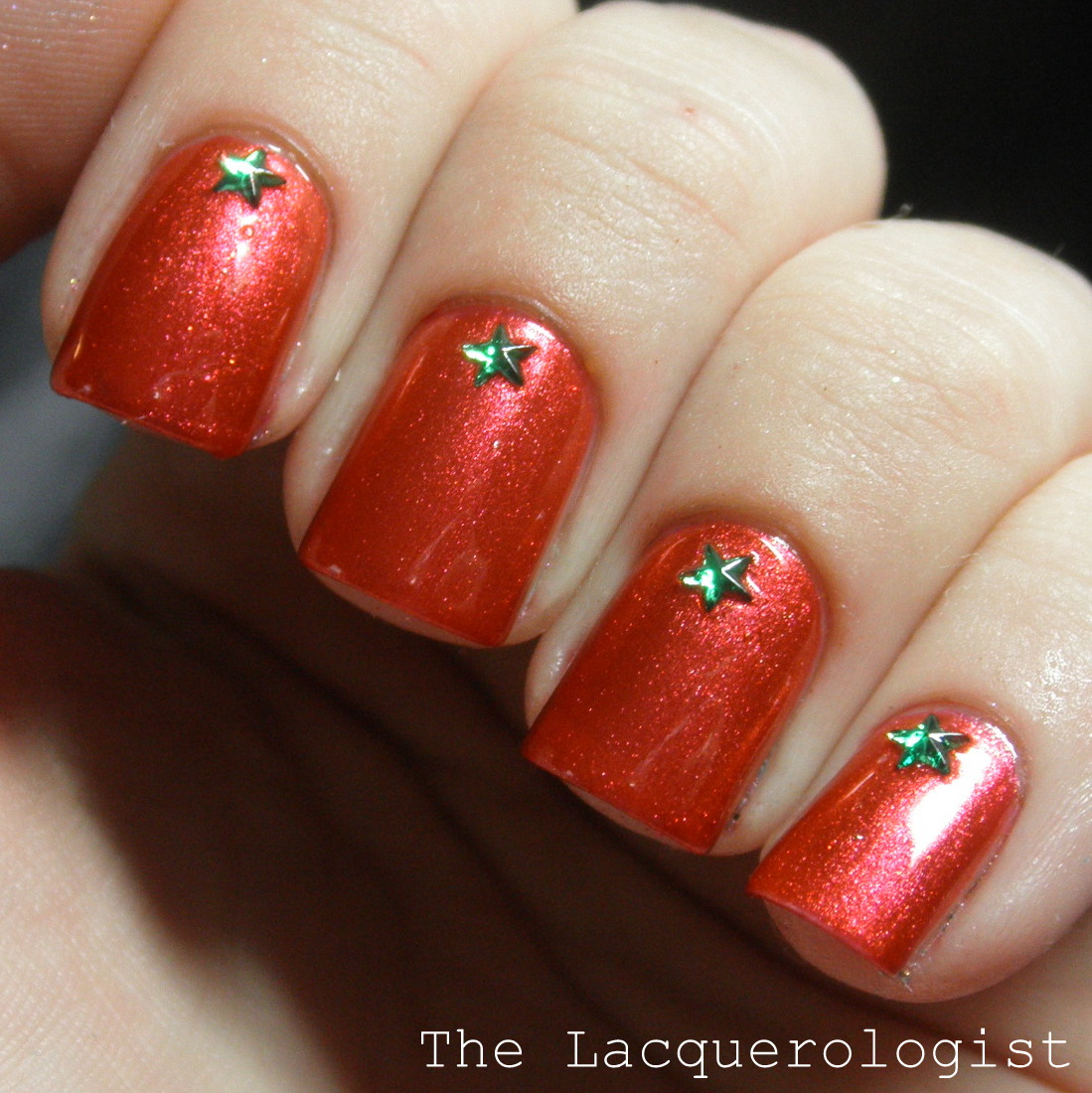 Super Simple Christmas Nails With Mash Rhinestones Casual Contrast
