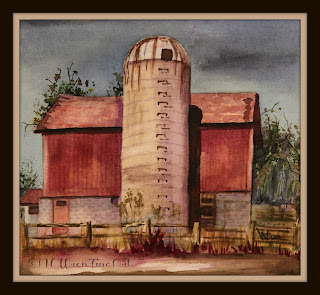 Old Silo ncwren 30in30 watercolor 5x5