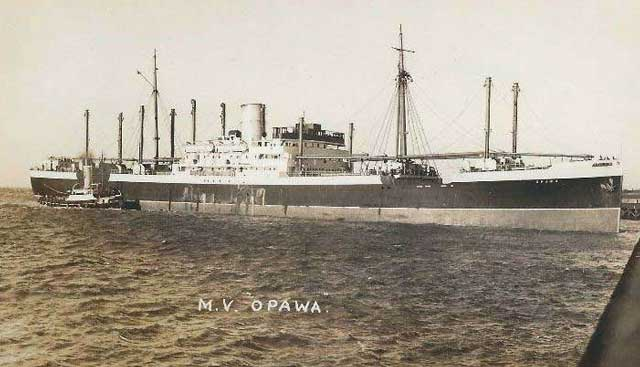 MV Opawa, sunk on 6 February 1942, worldwartwo.filminspector.com