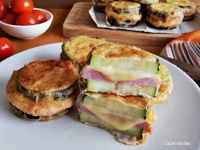 calabacín rebozado con jamón y queso