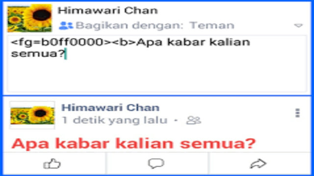 Kode Tulisan Tebal Di FB