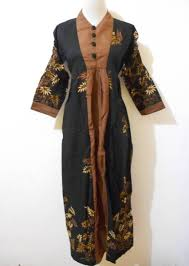 Model Long Dress batik Kerja terbaru