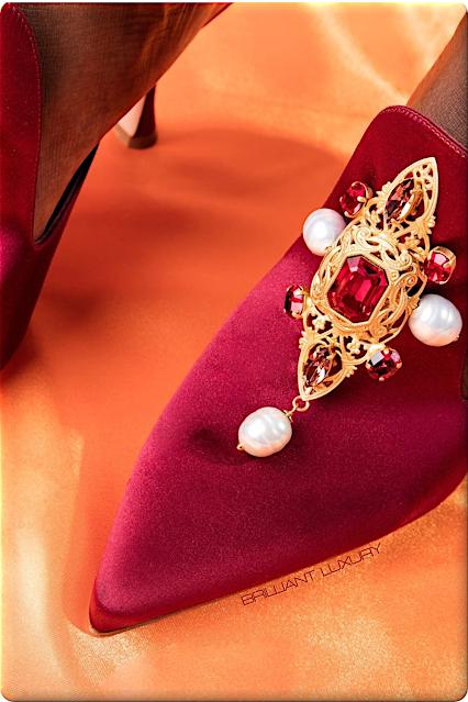 ♦Manolo Blahnik bejeweled red satin mules #manoloblahnik #shoes #redshoes #brilliantluxury