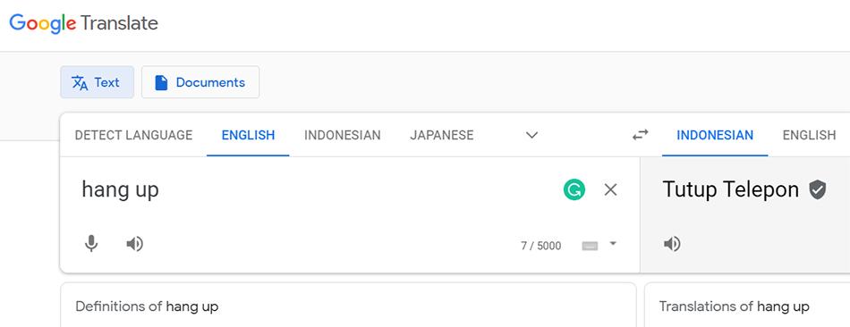Arti Hang Up Menurut Google Translate