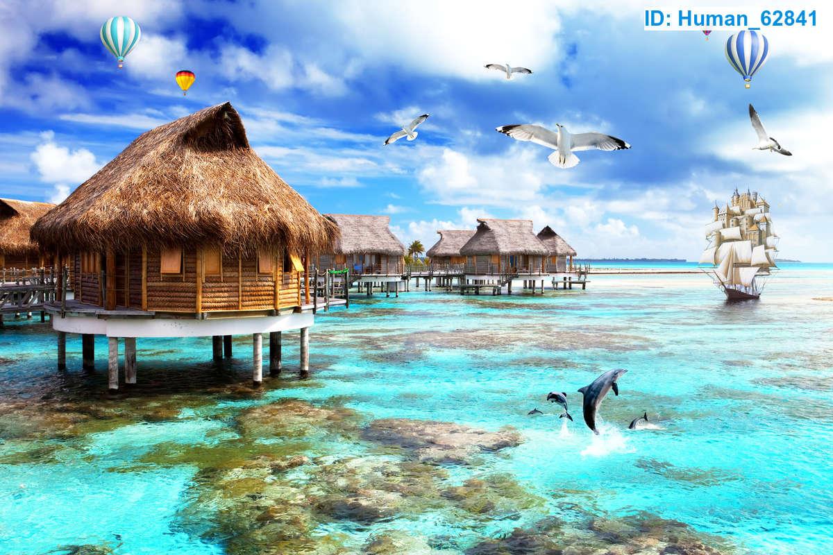 Tranh Dán Tường 3D Những Ngôi Nhà Lá Trên Biển