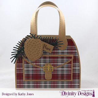 Custom Dies: Timeless Tote and Layers, Pinecones & Pine Branches, Treat Tags, Stamp/Die Duos: Deer Ornament, Paper Collection:Rustic Christmas