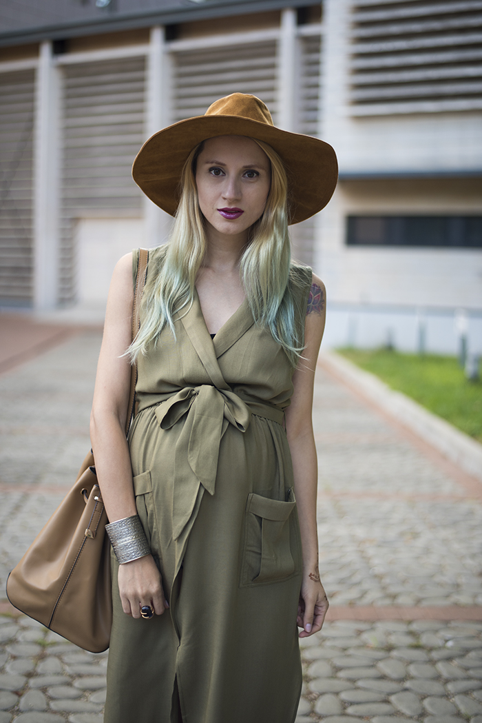 Skinny Buddha army green sleeveless dress safari