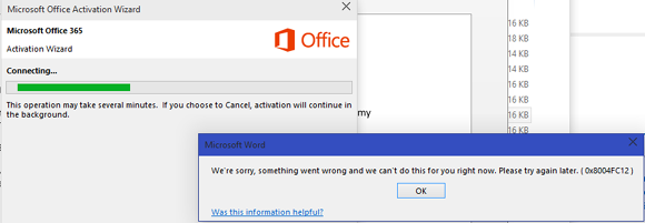 Fix for error code 0X8004FC12 while office 2016 activation