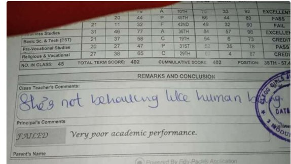 She is dull, she does not behave like an Human being- Social media users reacts to a Teacher's comment on a student report sheet