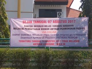 INFO IMIGRASI SURABAYA : Bikin Paspor Antrian Via Online Imigrasi Surabaya