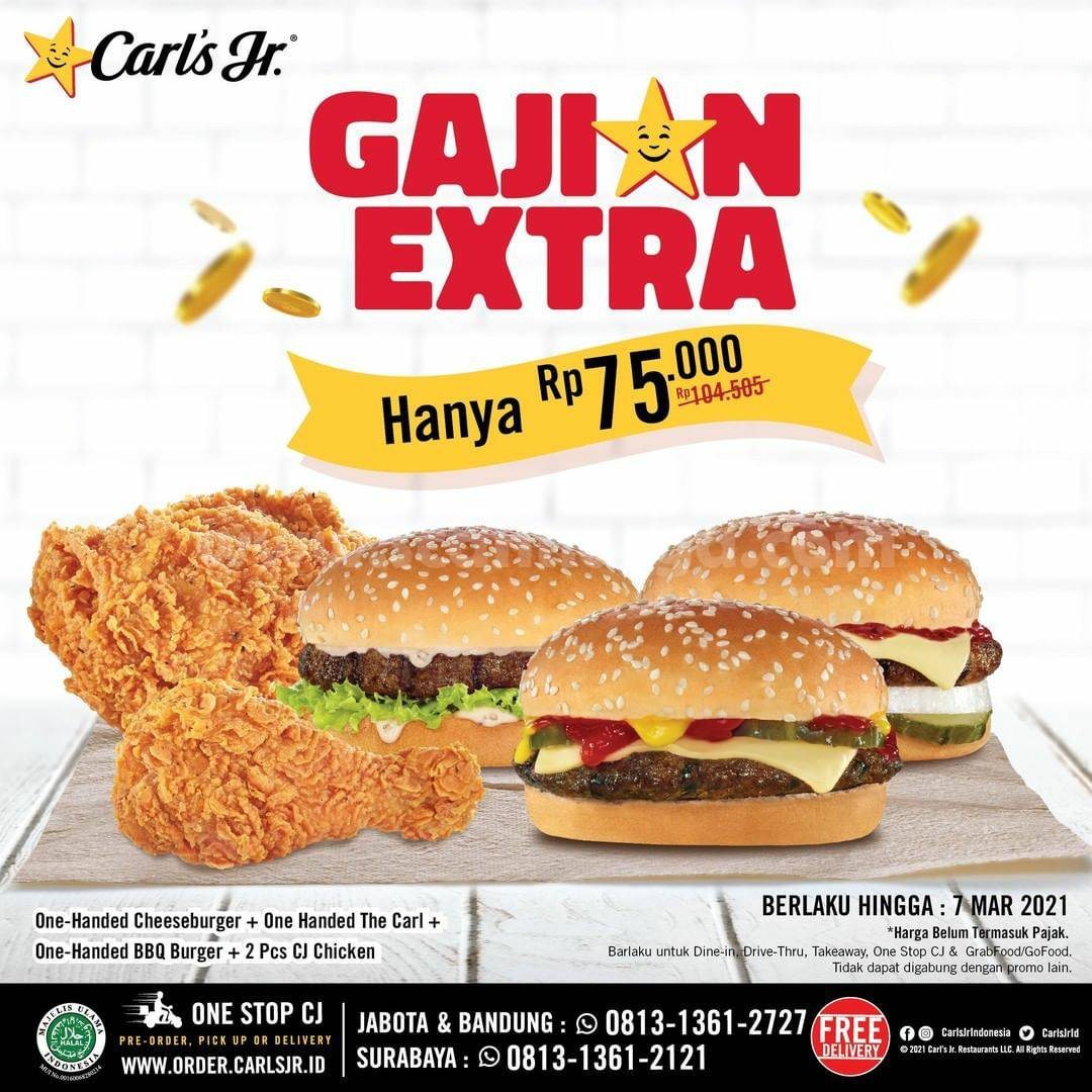 Promo CARL'S JR Paket GAJIAN EXTRA! Harga Hanya Rp 75K