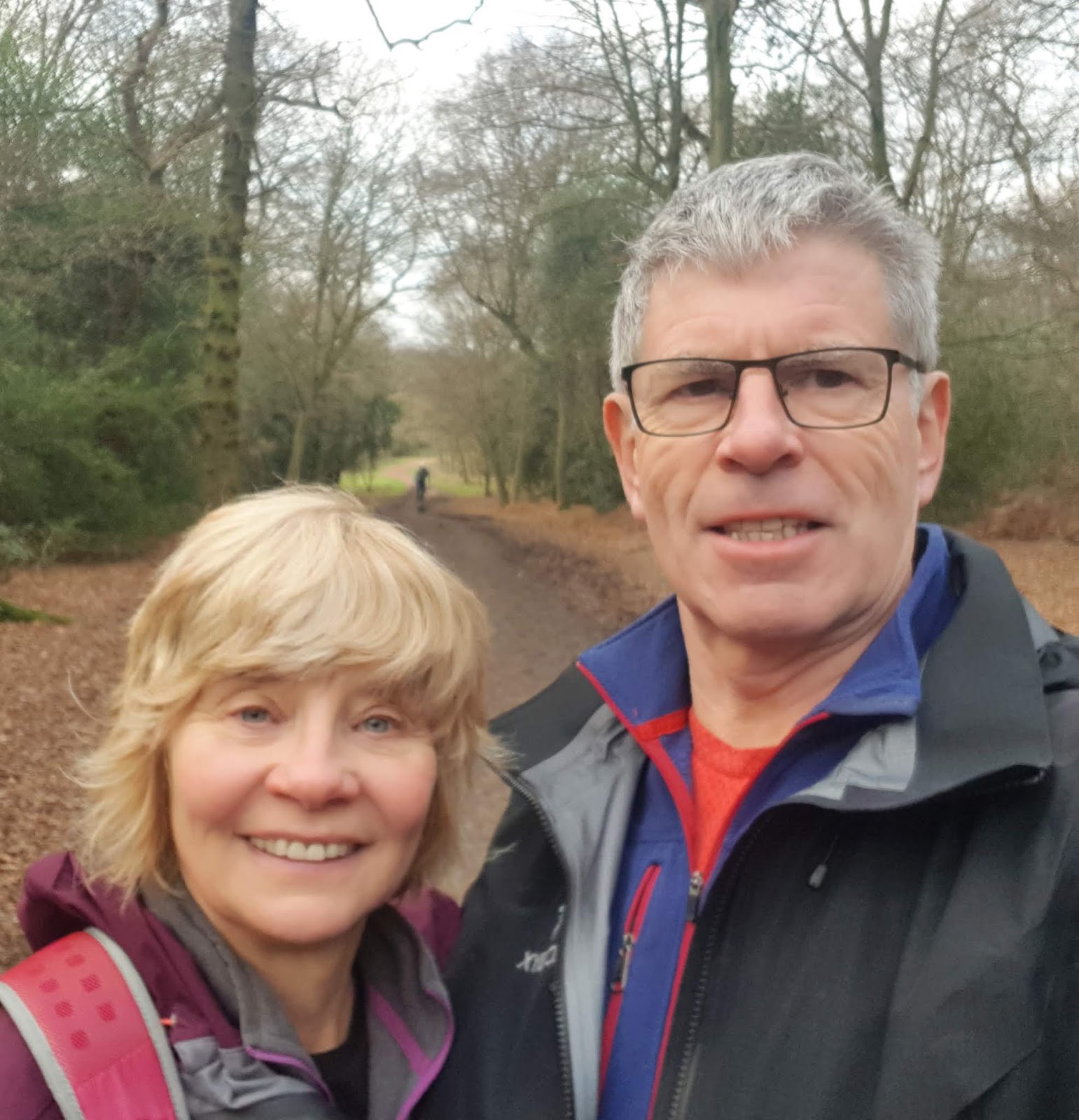 Couple walking in Epping Forest on New Year's Day
