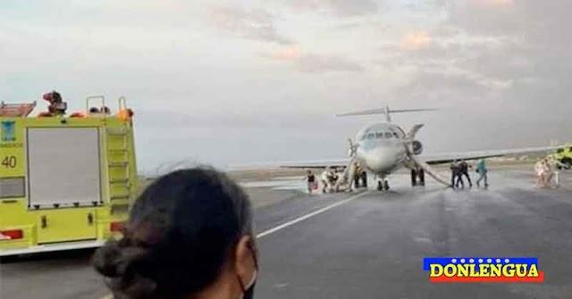 Avión de Aerolíneas Laser aterrizó en Maiquetía con un motor en llamas