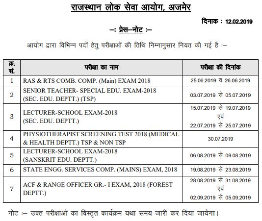 image : RPSC School Lecturer Exam 2018 Schedule July 2019 @ TeachMatters