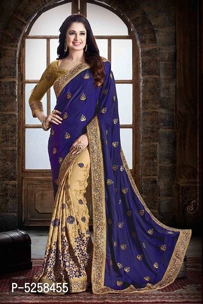 Chiffon Embroidered Saree with Blouse Piece Online   Sarees Online Shopping  