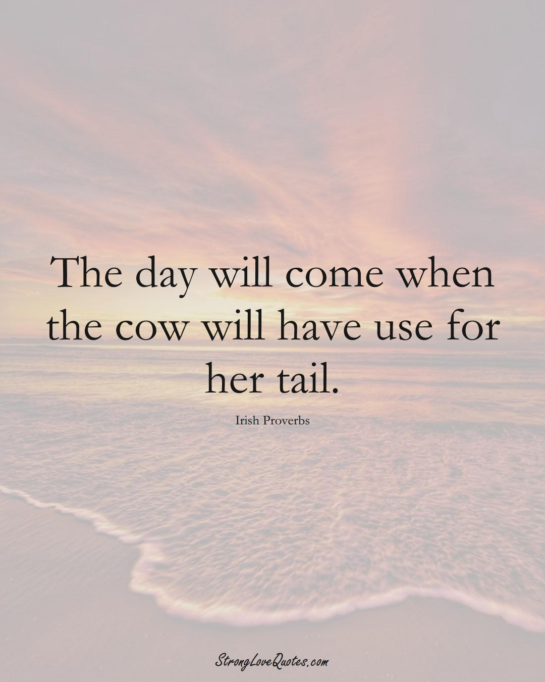 The day will come when the cow will have use for her tail. (Irish Sayings);  #EuropeanSayings