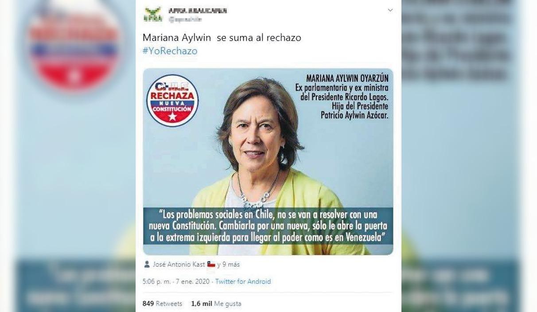 Mariana Aylwin no es parte de campaña contra una nueva Constitución