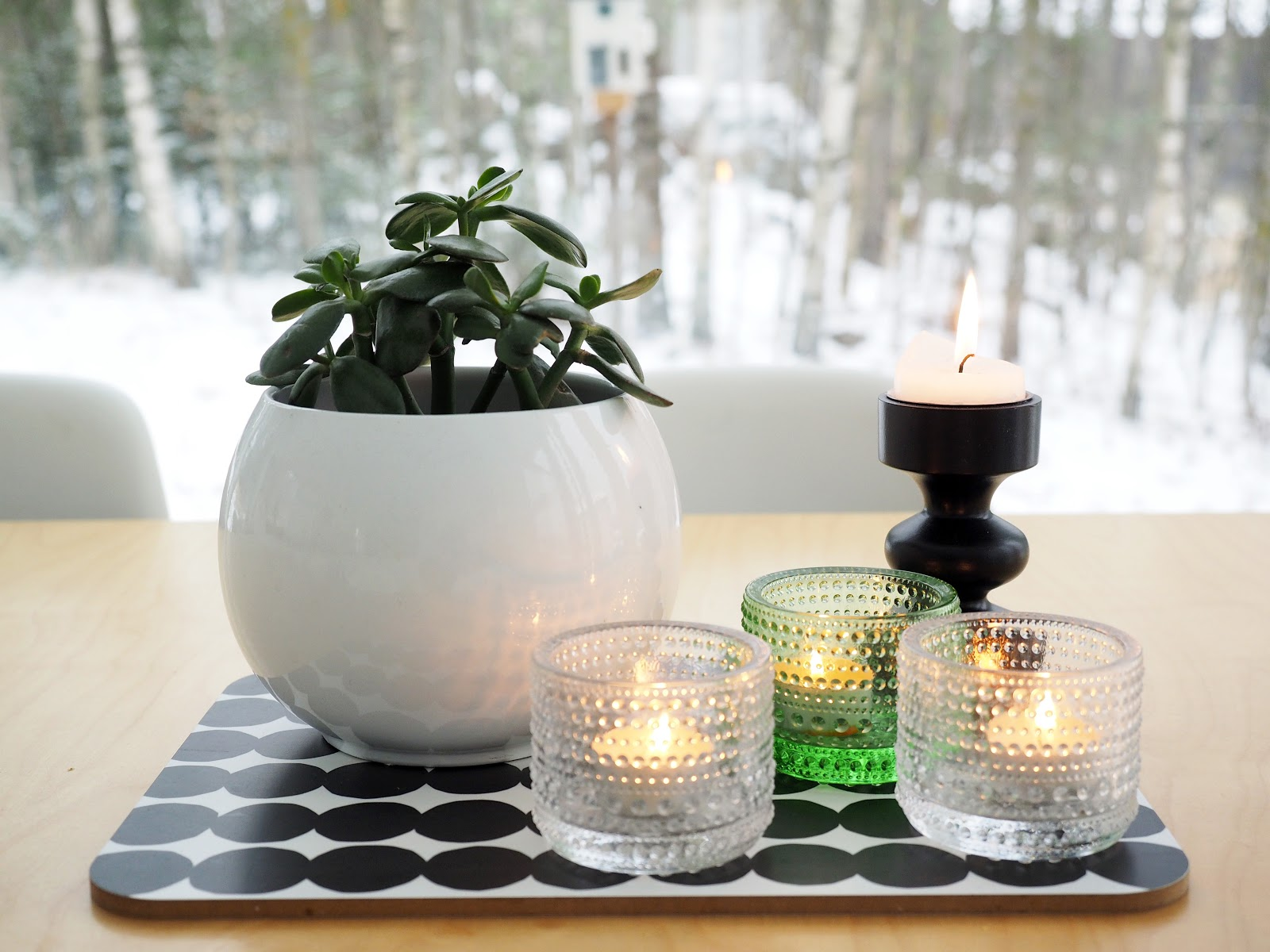 kynttilöitä, kaunis maisema, talvi