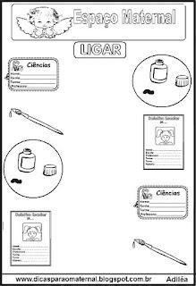Desenhos de objetos escolares