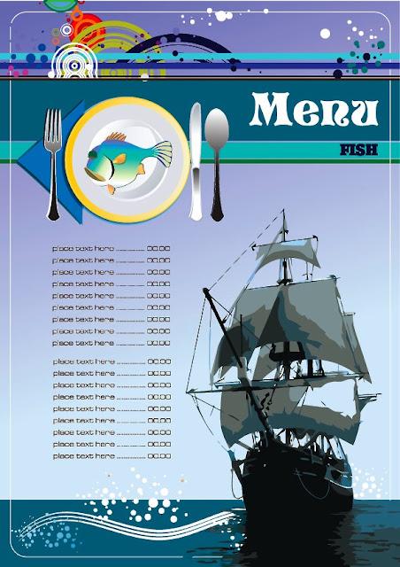 plantilla de menu para restaurante de comida marina