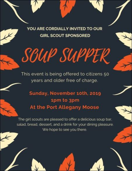 11-10 Soup Supper, 50+ Free, Port Allegany, PA