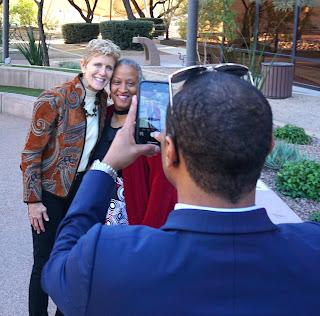 Pam Tucker and Wanda Tucker pose for a photo