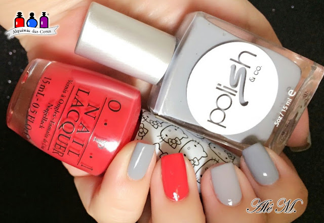 Polish & Co, No Grey Area, Grey, Cinza, OPI, Hello Kitty, 5 Apples Tail, Red, Vermelho, La Femme, Amarelo, Carimbado, Alê M., Cremoso