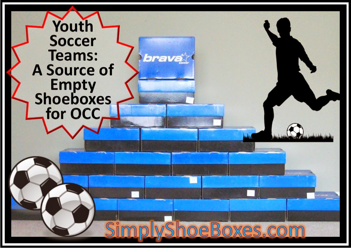 Empty shoe boxes from youth soccer team for Operation Christmas Child