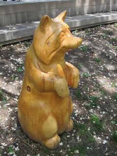 Wooden Raccoon Clover Hill Park Toronto