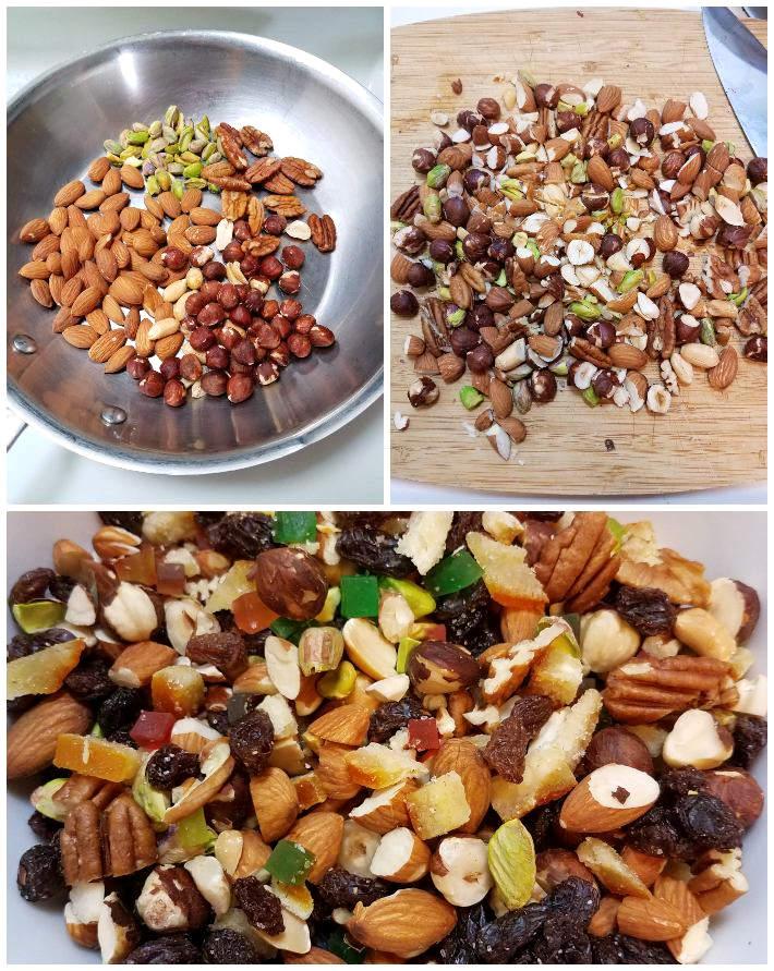 Preparación de la mezcla de frutos secos