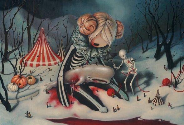 Brandi Milne pinturas surreais meninas fofas meigo sombrias inocência maturidade amor perda