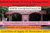 Indian Institute of Forest Management (IIFM) Recruitment 2017 – 366 posts of Managers, Consultant and Community Mobiliser