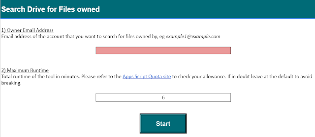 Provide the owner and maximum script runtime for search Drive for files.