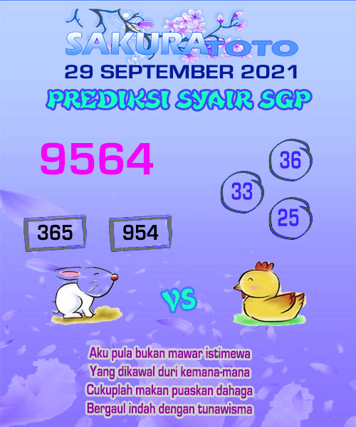 Syair Sakuratoto SGP Rabu 29 September 2021