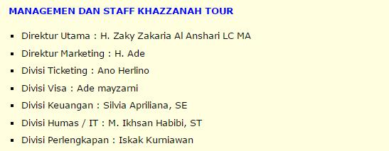 managemen dan staff khazzanah Tour