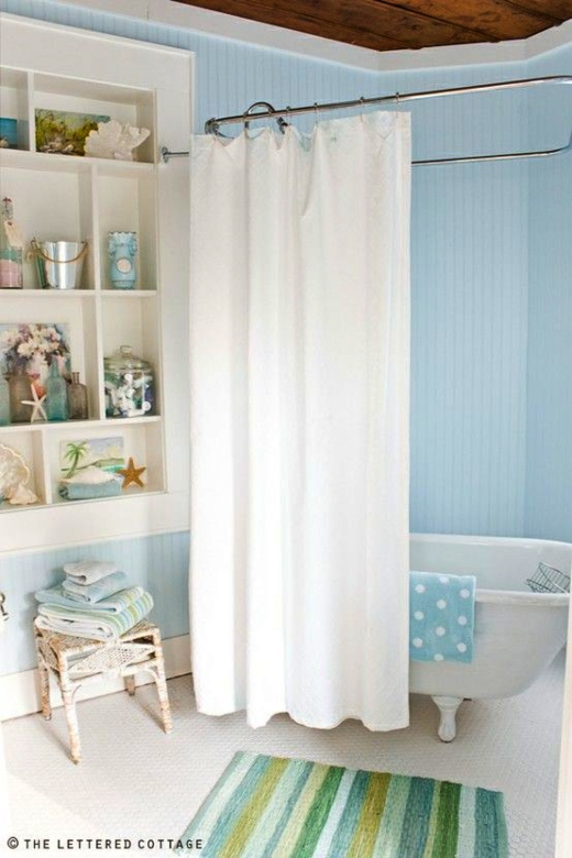 Pail Blue Painted Bathroom Walls