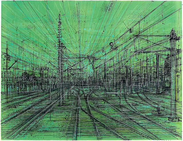 Jean Carzou art in green, an electric rail yard