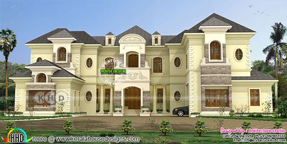 Colonial style luxury home plan wit 8 bedrooms