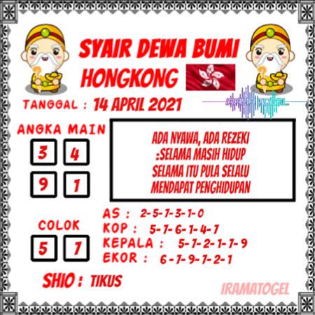 Syair Dewa Bumi HK Rabu 14-Mar-2021