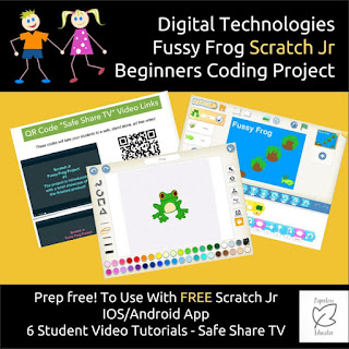 Cover Image from Digital Technologies Fussy Frog Scratch Jr Beginners Coding Project.