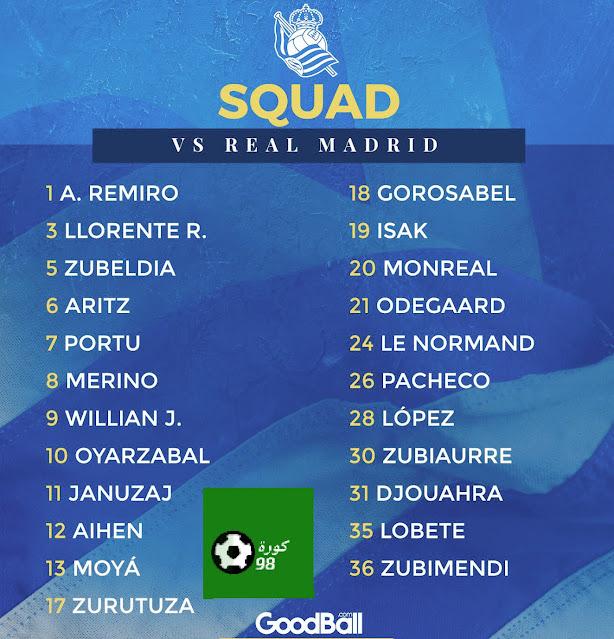 قائمة سوسييداد لمواجهة ريال مدريد