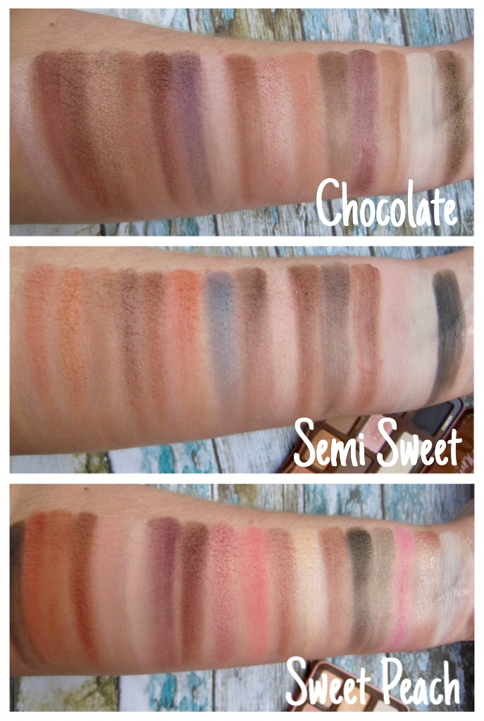 Too Faced peach, semi sweet chocolate bar palette swatches review