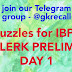 Puzzles for IBPS CLERK PRELIMS DAY 1