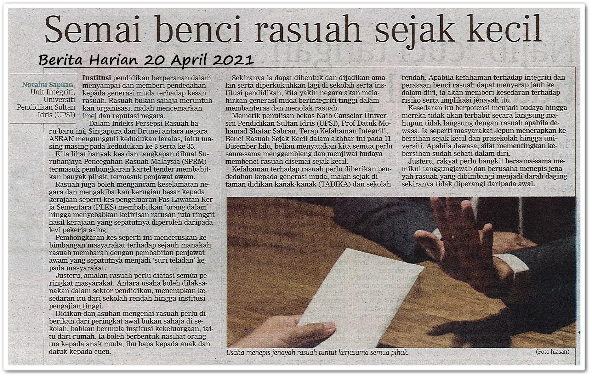 Semai benci rasuah sejak kecil - Keratan akhbar Berita Harian 20 April 2021