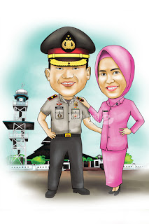 Karikatur Polisi Couple Romantis
